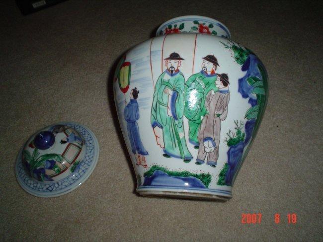 Chinese kangxi famille verte large jar
