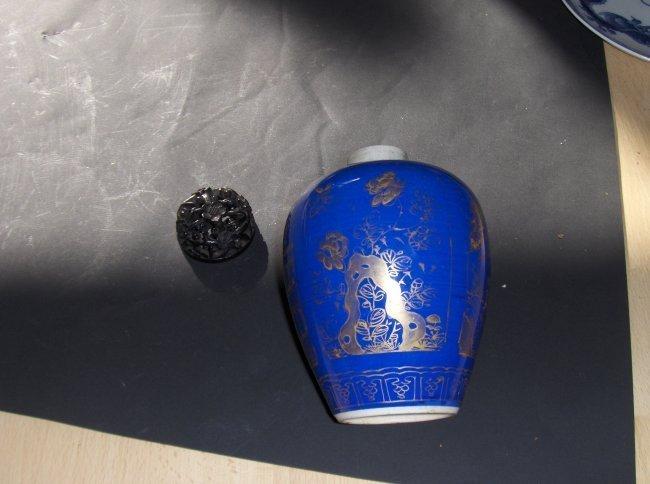 Chinese kangxi blue jar.