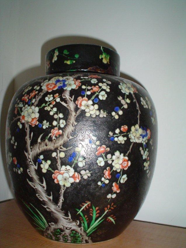 Chinese qing black vase, ex-museum item.