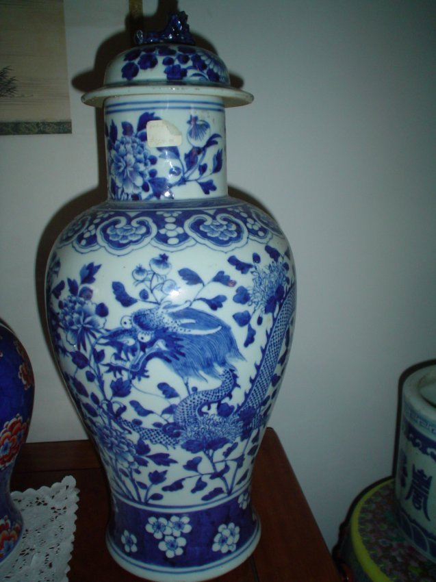 A chinese blue and white dragon motive, qing dynasty