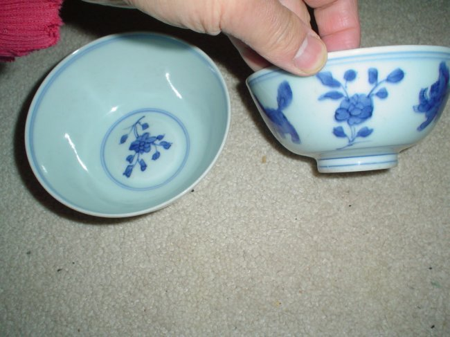 chinese antique a pair of bowls. kangxi mark
