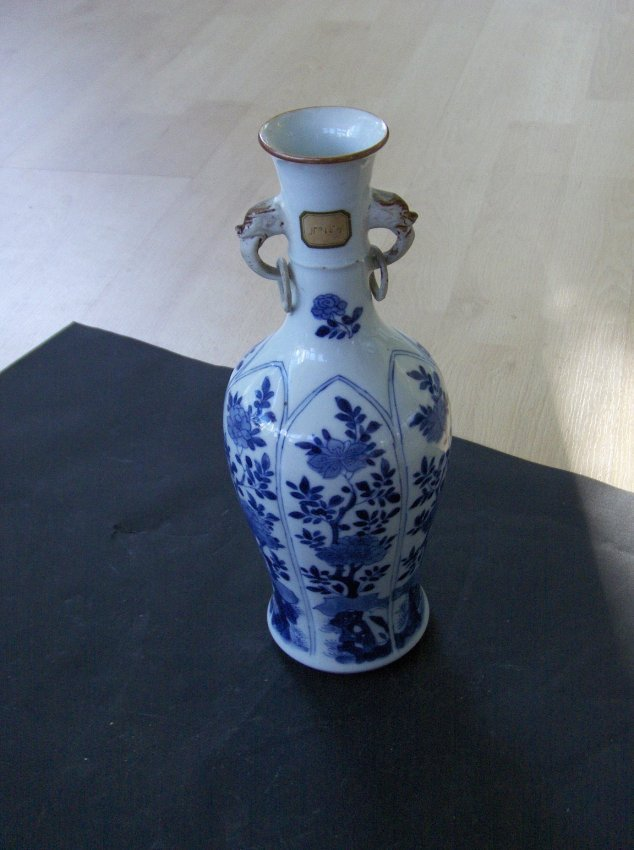 Chinese blue and white ear ring vase.