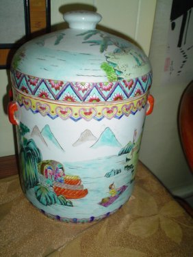 large Chinese famille rose pot