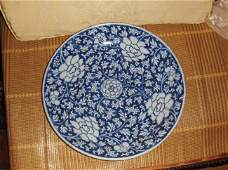 A chinese Kangxi blue and white large plate