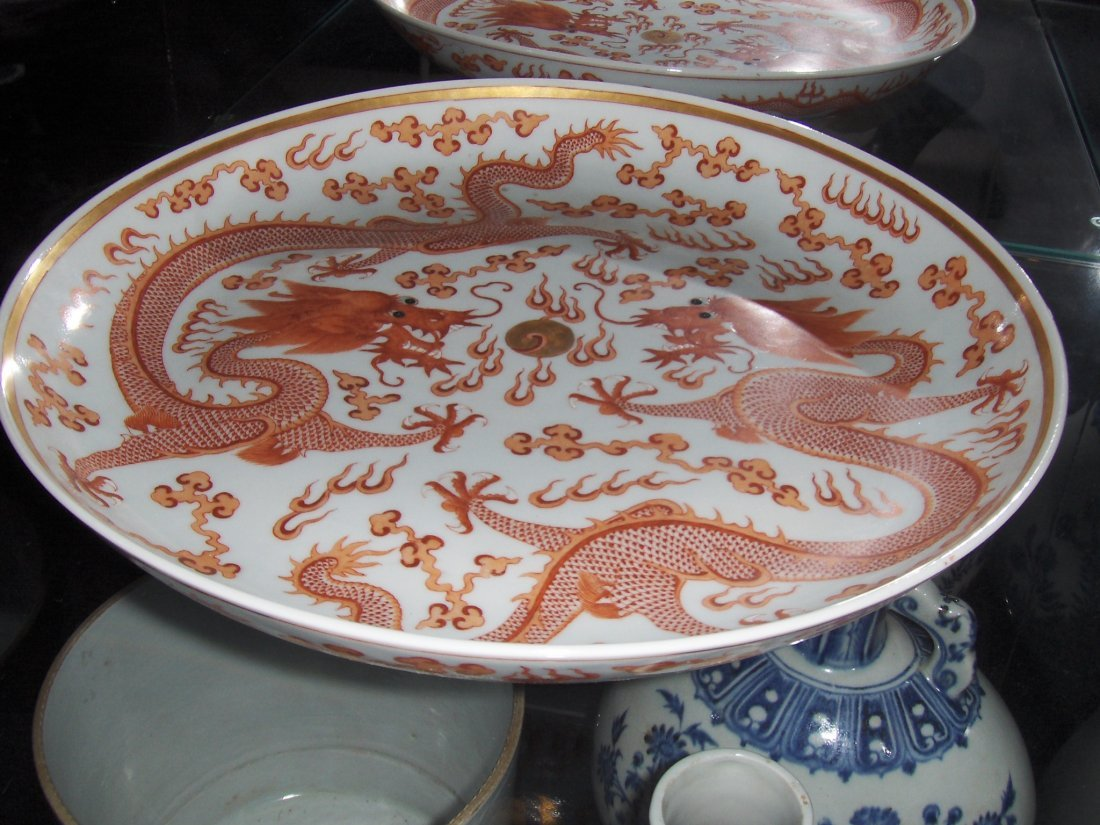 Chinese 19th century large dragon plate