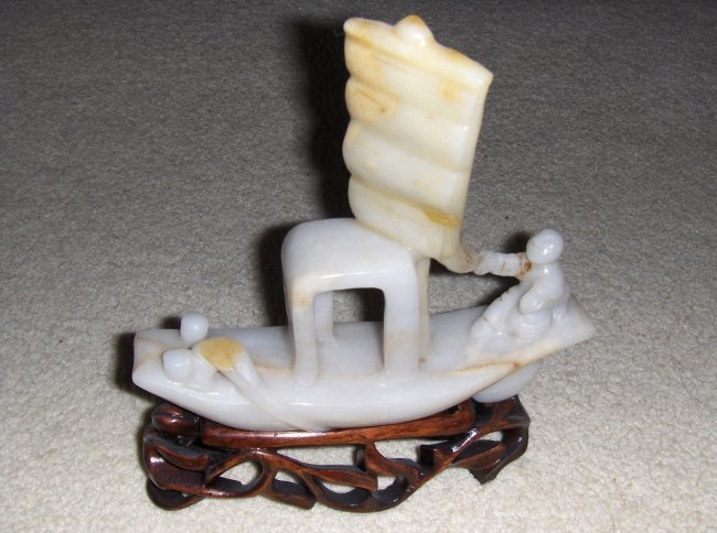 Chinese qing jade boat.