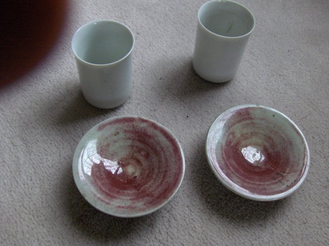 Chinese antique pair of bowls and cups.bowls early qing