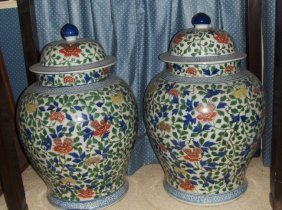 A pair of large late ming early qing vases.