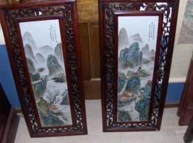 Chinese A Pair Of Plaques. Republic.