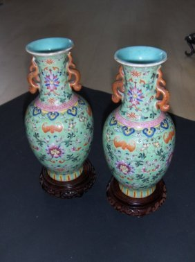 Chinese Famille Rose Imperial Jiaqing Qing A Pr. Vases