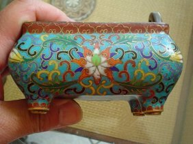 Cloisonne Incense Burner With Mark Under.