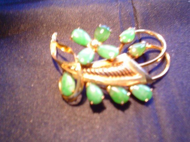 Chinese gold jadeite brooch