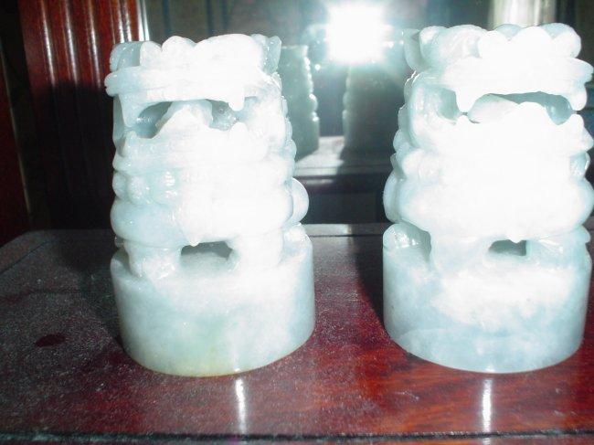 jadeite carving, a pair of lion seals