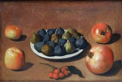 Vincenzo Campi Plate of Figs with fruit and a