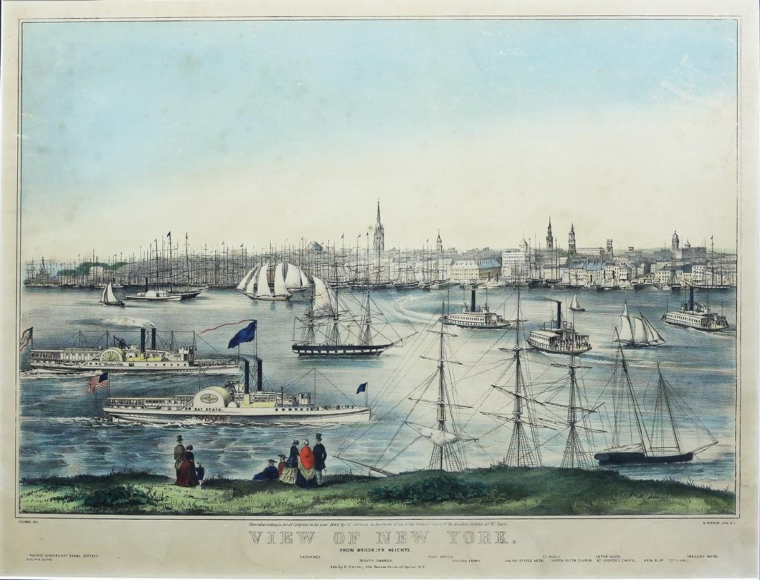 Lithograph View of New York from Brooklyn
