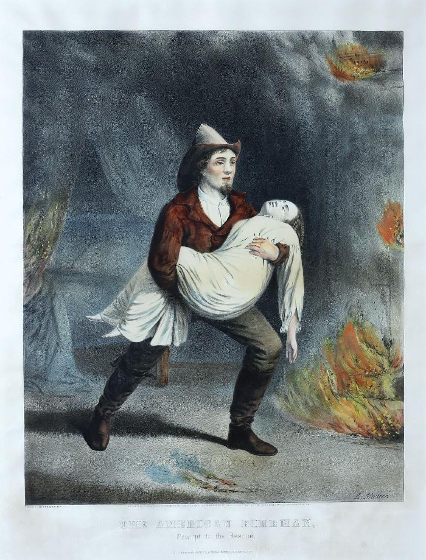 Currier and Ives Fireman Scene