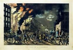 Currier  Ives Fireman Scene