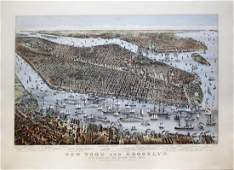 Currier  Ives View of New York Brooklyn Jersey City