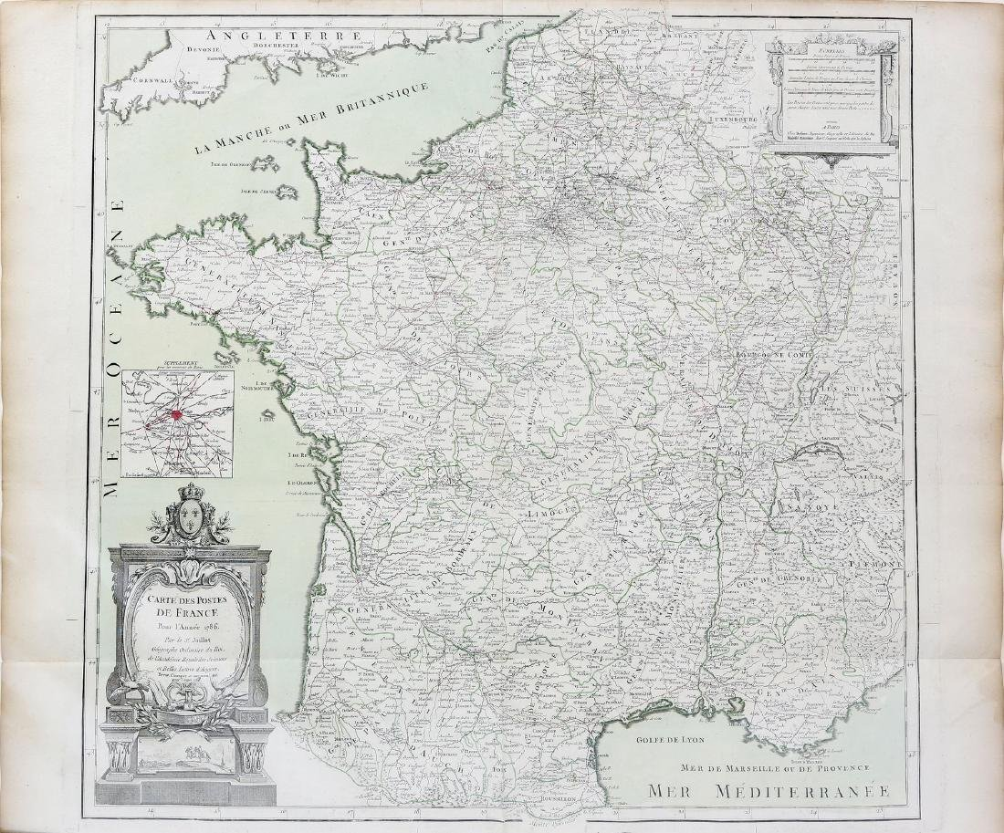Jaillot Engraved Map of France Post Revolution