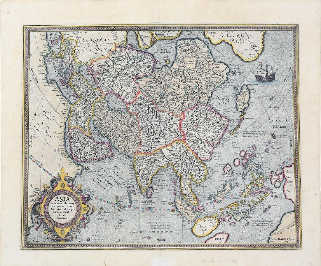 Mercator Engraved Map of Asia