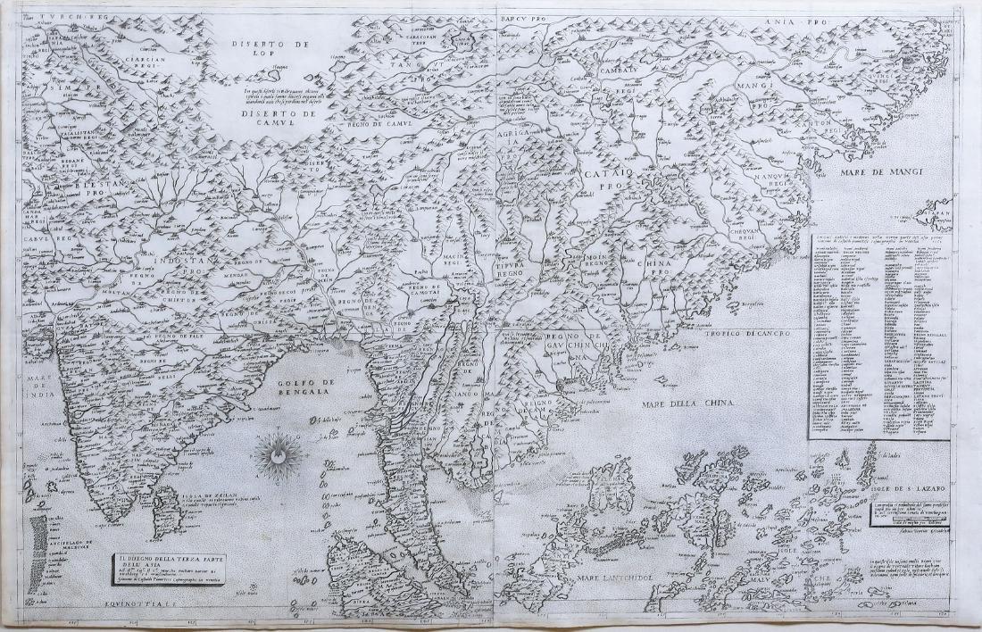 Three Very Rare Gastaldi Maps of Asia
