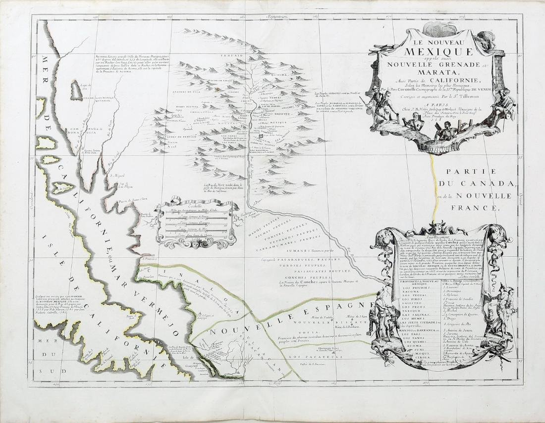 Second State Coronelli Map of American's West Coast