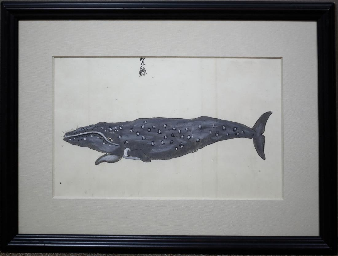 Japanese Whale Watercolor - 2