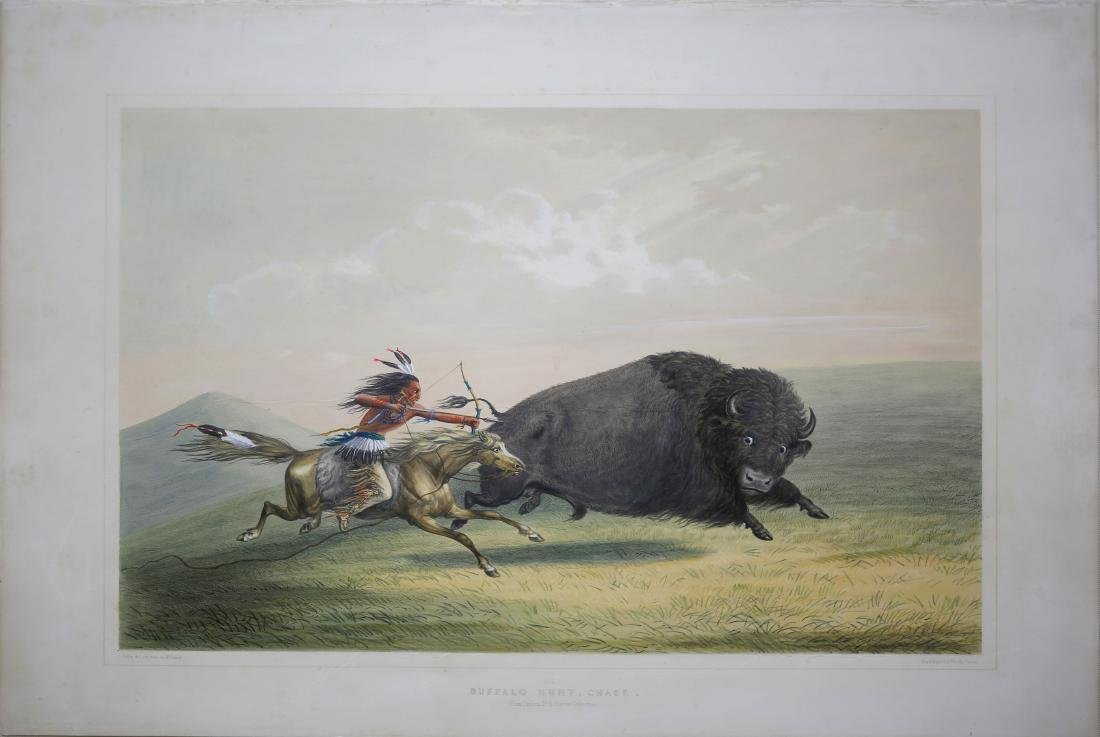 Catlin Lithograph, Buffalo Hunt, Chase
