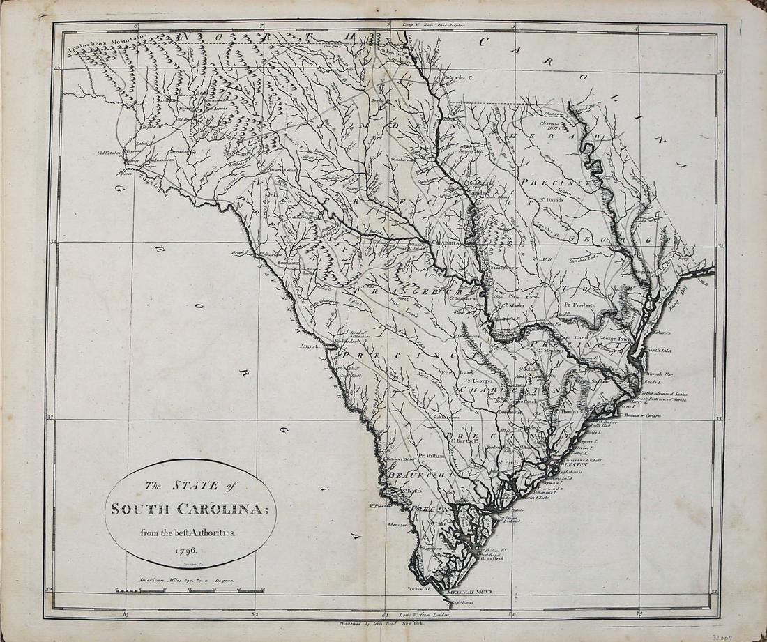 Tanner / Reid Map of South Carolina, 1796