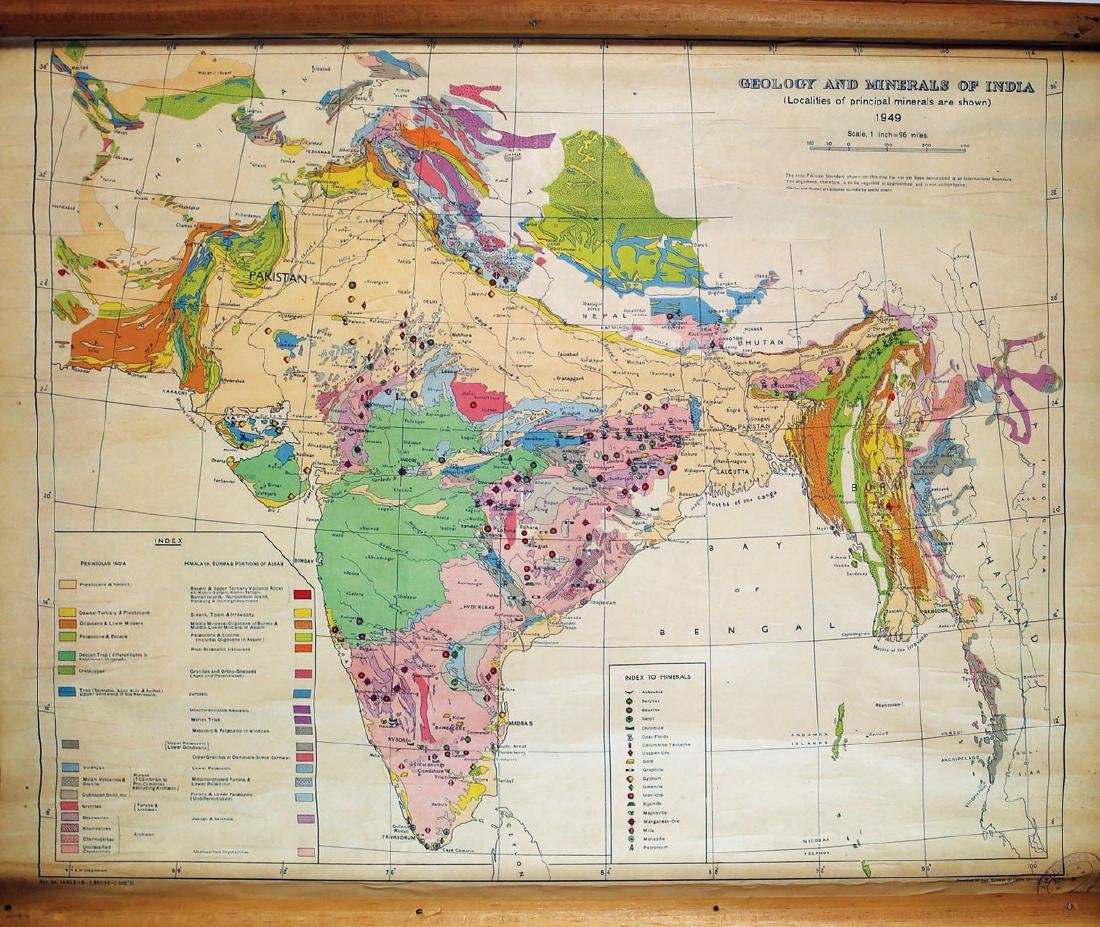 Indian Government Survey Map of Geology and Minerals of