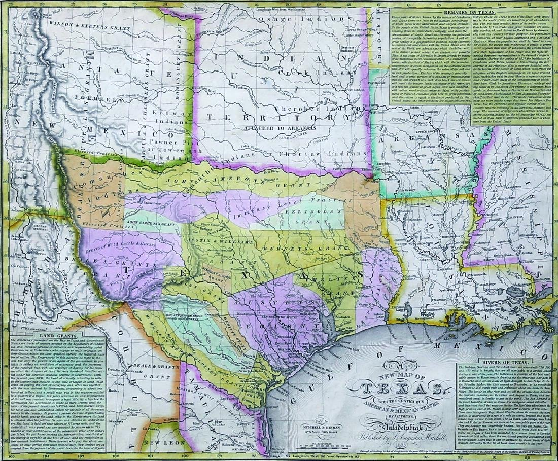 New Map Of Texas.Young New Map Of Texas 1835
