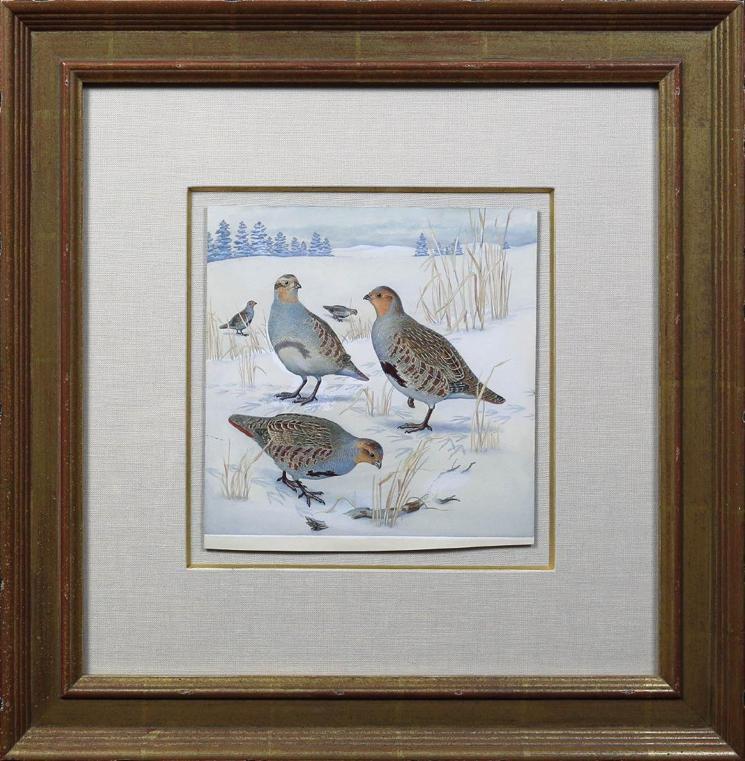 Signer Watercolor of a Partridge - 2