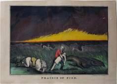 Currier Lithograph Prairie on Fire