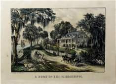 Currier  Ives Home on Mississippi