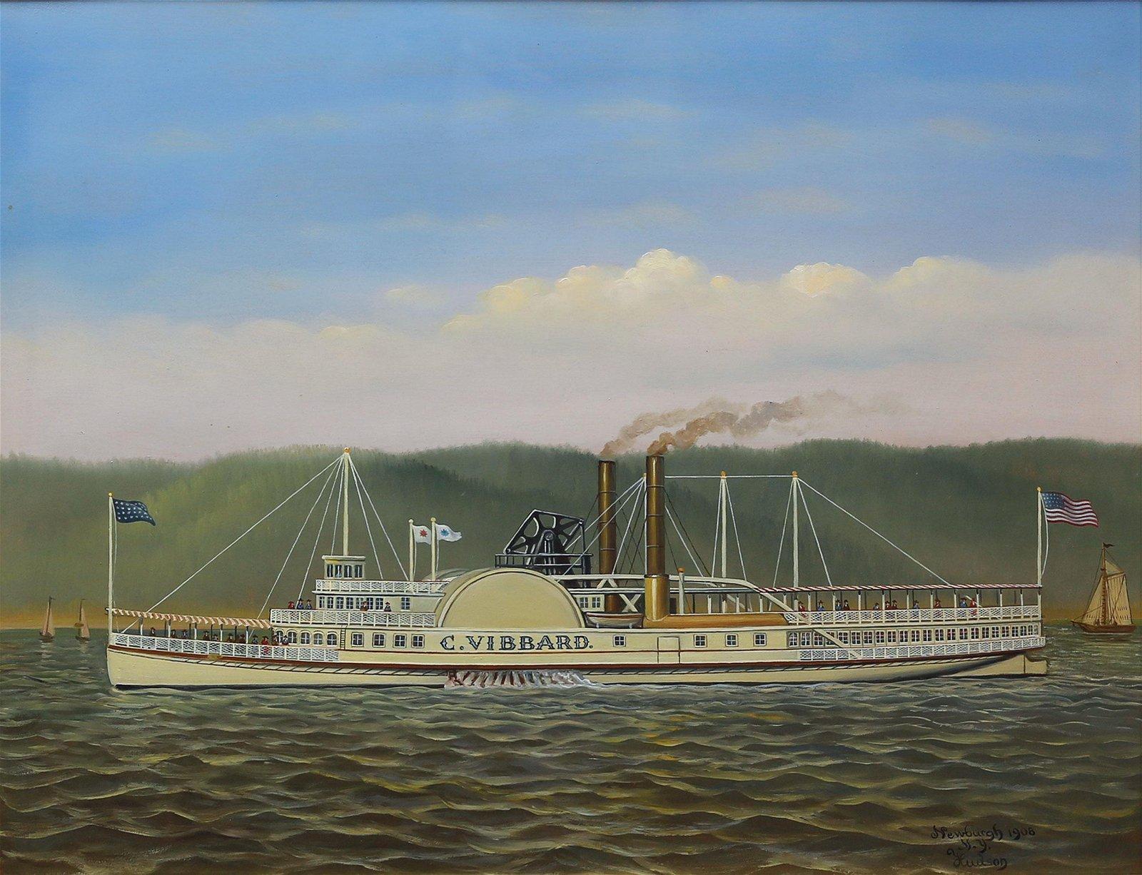 Steamship Naval Oil Painting