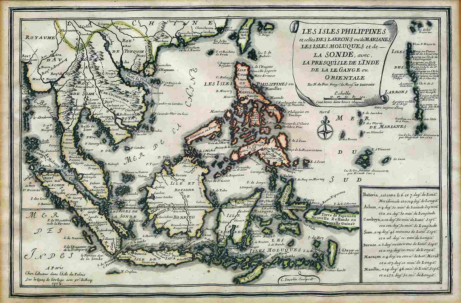 De Fer Map of Philippines, 1702