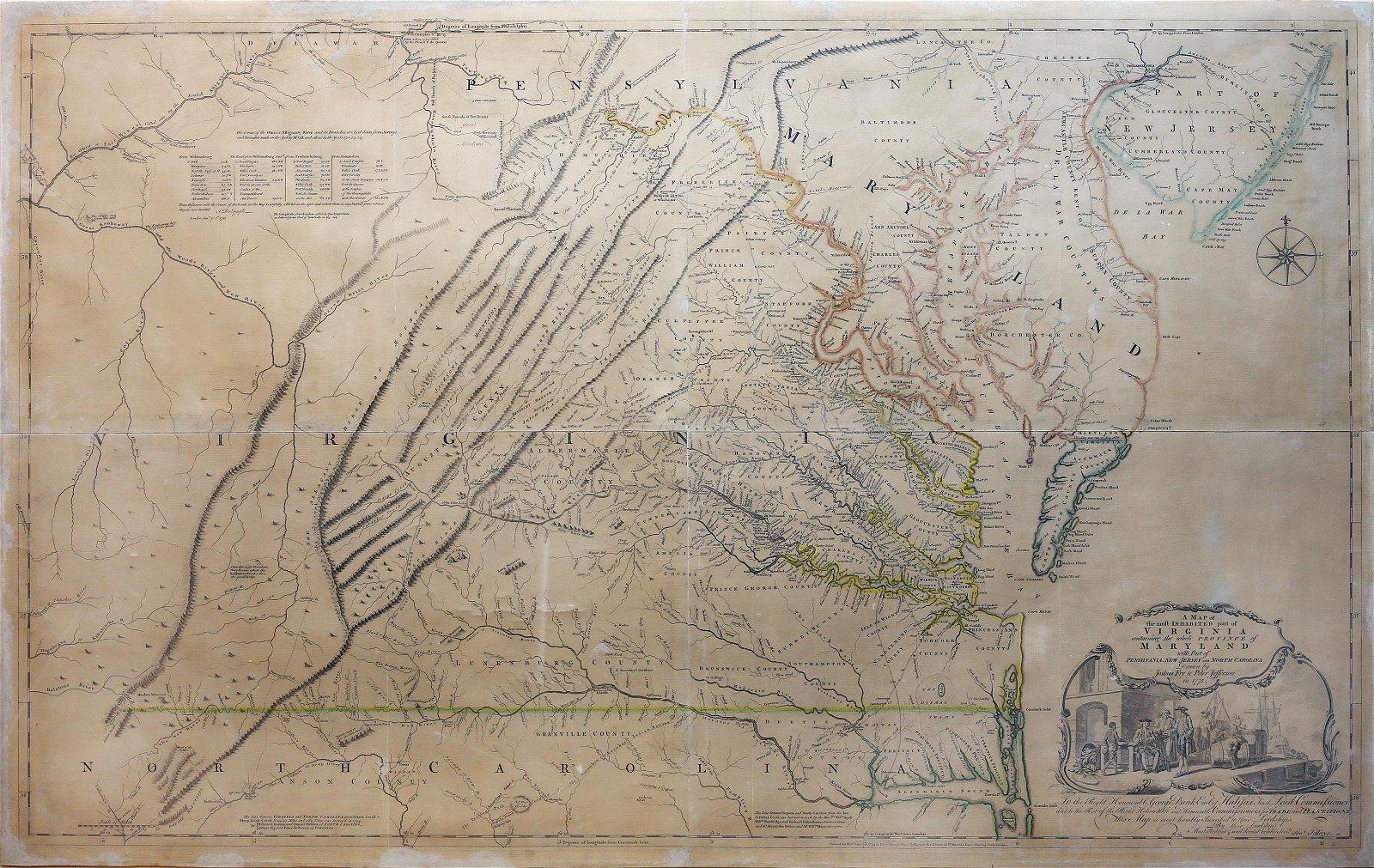 Fry & Jefferson Map of Virginia, 1775