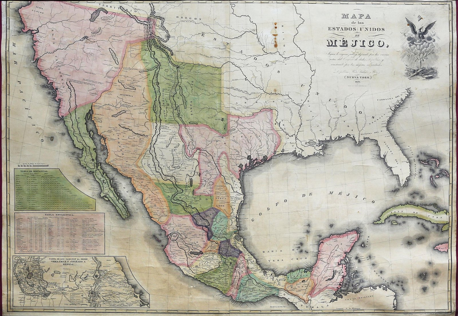 White & Gallaher Map of Mexico, 1828