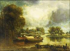 Watts Oil Barges on a River