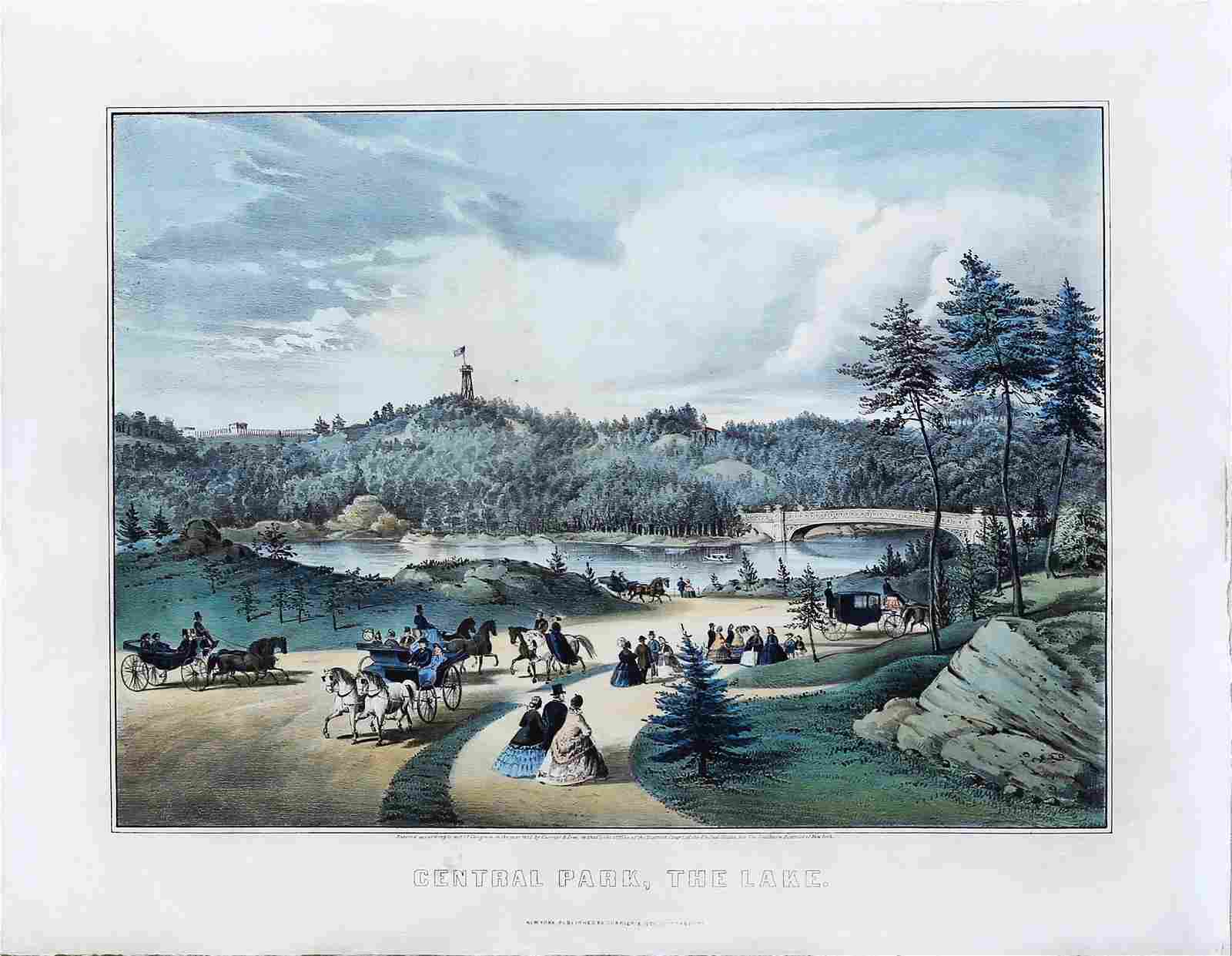 Currier & Ives, Central Park, the lake