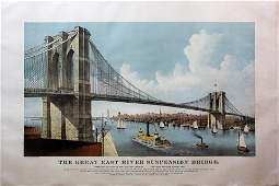 Currier & Ives Lithograph of The Brooklyn Bridge