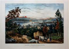 Currier  Ives Lithograph of Lake Winnipeseogee NH
