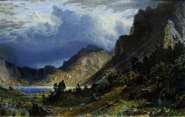 Bierstadt Chromolithograph Storm in the Rocky
