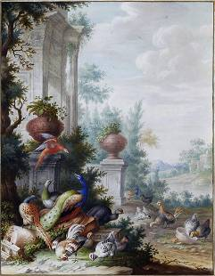 Henstenburgh watercolor of Exotic Birds