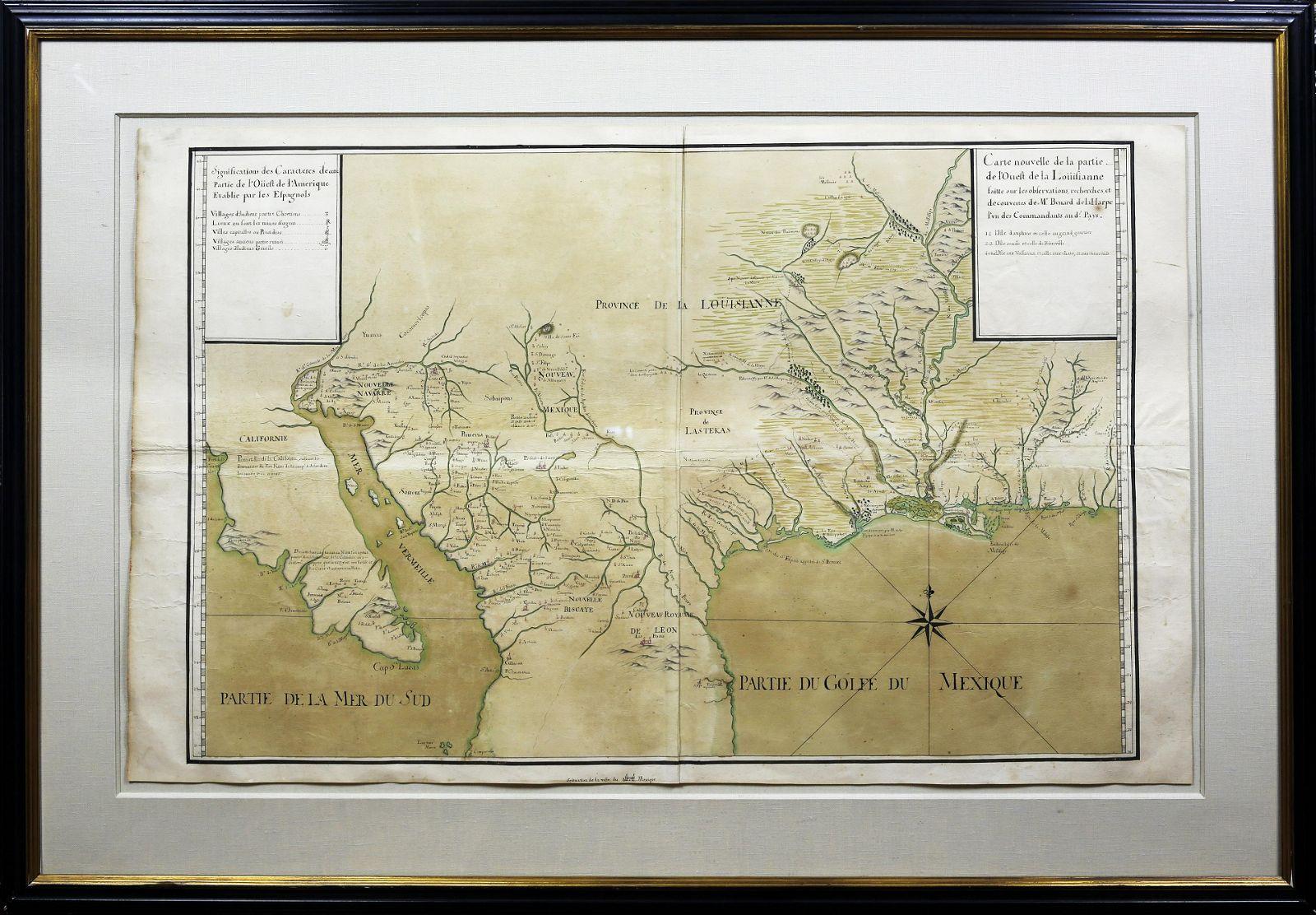 La Harpe Manuscript Map of Louisiana