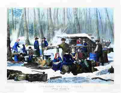 Currier, American Forest Scene, Maple Sugaring