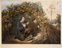 """Currier & Ives, Pigeon Shooting: """"Playing the Decoy""""."""
