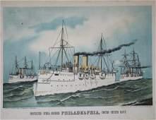 Currier  Ives Protected Steel Cruiser Philadelphia