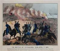 Currier  Ives The Battle of Pittsburgh Tenn Shiloh