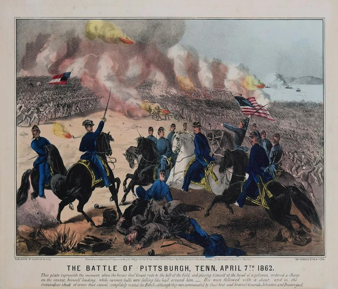 Currier & Ives, The Battle of Pittsburgh, Tenn (Shiloh)
